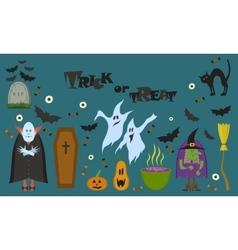 set of characters and icons for Halloween vector image