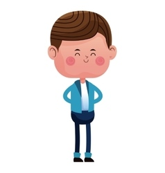 standing boy with blue pants jacket closed eyes vector image