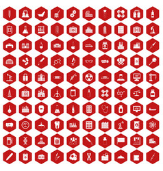 100 chemical industry icons hexagon red vector