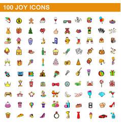 100 joy icons set cartoon style vector
