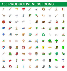 100 productiveness icons set cartoon style vector image