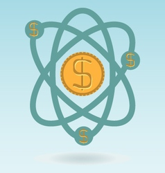 abstract physics science model with dollar coins vector image