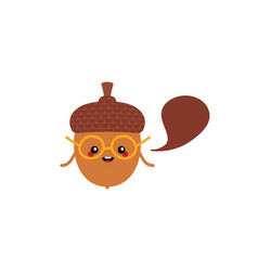acorn character in glasses with speech bubble vector image
