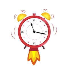 alarm clock red wake-up time concept quickly vector image