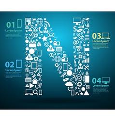 Application icons alphabet letters N design vector