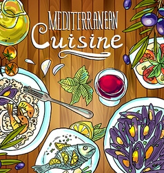 beautiful hand-draw mediterranean cuisine- food on vector image