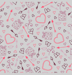beautiful seamless pattern with hearts arrows vector image