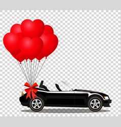 Black cabriolet car with bunch of red helium vector