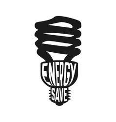 Black silhouette of lamp with text inside enegry vector image