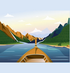 Boat on the lake in a mountainous region with vector