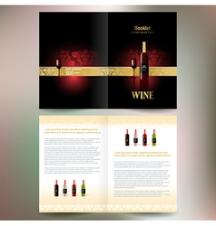brochure folder wine red vine grape ornament vector image