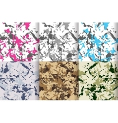 Camouflage seamless patterns set big collection vector image