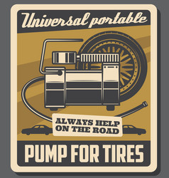 car repair service automobile tires pump vector image