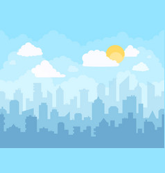 cartoon blue sky cityscape cloudy sky city vector image