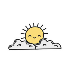 Cartoon sun and clouds weather nature vector