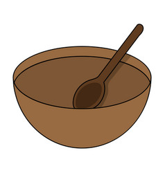 Cartoon wooden bowl with spoon isolated on white vector