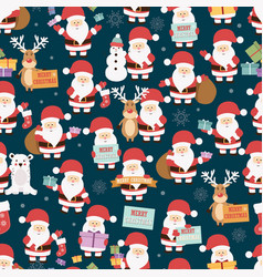 Christmas seamless pattern with santa claus vector