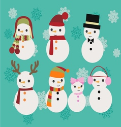 Christmas set of snowmen vector image