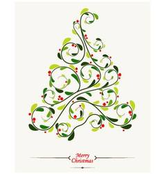Christmas tree with floral background vector image