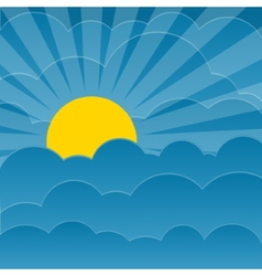 Clouds background with sun vector
