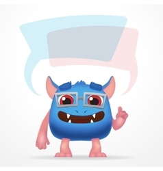 Comic blue education monster cute character with vector