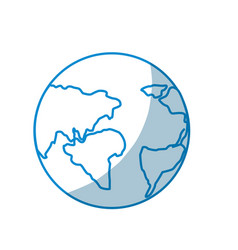 Contour earth planet with global geographys vector