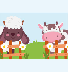 cow and sheep wooden fence flowers farm vector image