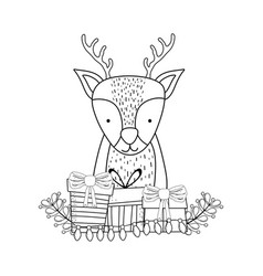 cute christmas reindeer with wreath and gifts vector image