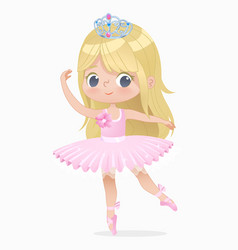 cute small blond hair girl ballerina dance vector image