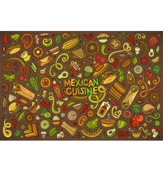 Doodle cartoon set of Mexican Food objects vector image