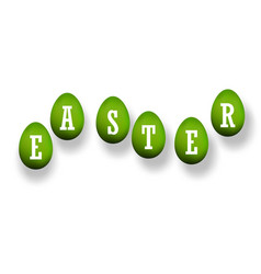 easter egg 3d icons green set white text vector image