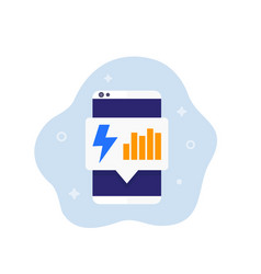 Electric consumption icon with a phone vector