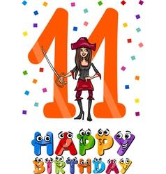 Eleventh birthday cartoon design vector