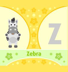 English alphabet with zebra vector