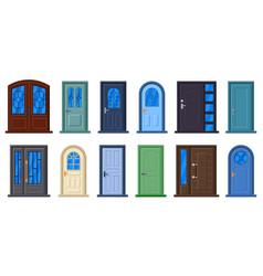 entrance doors wood doorway closed doors vector image