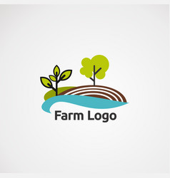 farm logo with tree and brown ground concept icon vector image