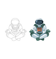 figure of the astronaut sitting in buddha pose vector image