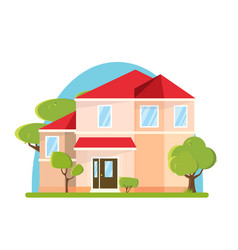 flat design big house with trees building vector image