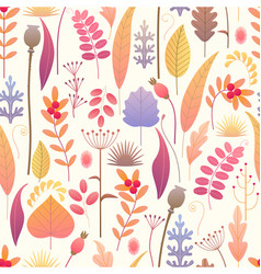 floral seamless pattern with autumn plants vector image