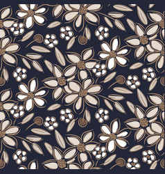 flowers vintage handdrawn brown taupe colors vector image