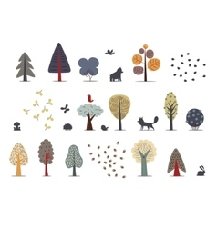 Forest trees set vector image