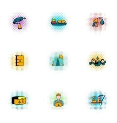 Fuel icons set pop-art style vector