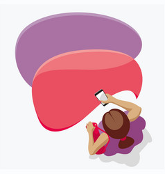Girl and mobile messages on your smartphone vector