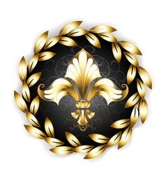 Gold Fleur De Lis with Laurel Wreath vector image