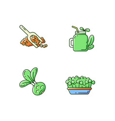 greens variety rgb color icons set vector image