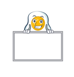 Grinning fried egg character cartoon with board vector