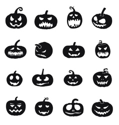 halloween pumpkins icons vector image