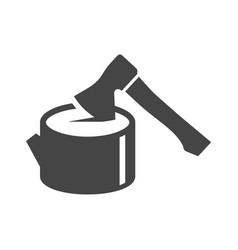 hand hatchet woodsman bold black silhouette vector image