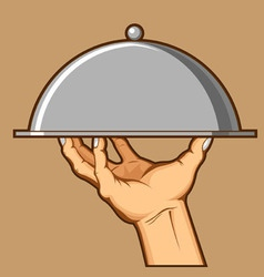 Hand Serving Tray of Food vector image