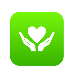 hands holding heart icon digital green vector image